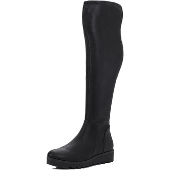 Shoes Women High boots Spylovebuy ASPYRE Flat Over Knee Tall Boots - Black Leather Style Black