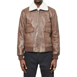Clothing Men Leather jackets / Imitation leather The Idle Man Vintage Leather Flight Bomber Jacket Brown Brown