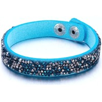 Watches Women Bracelets Blue Pearls Silvery and Turquoise Swarovski Crystal Elements and leather Bra Multicolored