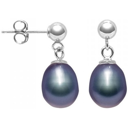 Watches Women Earrings Blue Pearls Black Freshwater Pearl Earrings and 925 Silver Multicolored