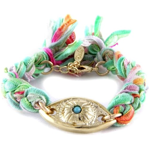 Watches Women Bracelets Blue Pearls Ettika - Multicolor Ribbons and Yellow Gold Eye Bracelet Multicolored