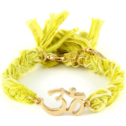 Watches Women Bracelets Blue Pearls Ettika - Yellow Ribbons and Yellow Gold Om Bracelet Multicolored