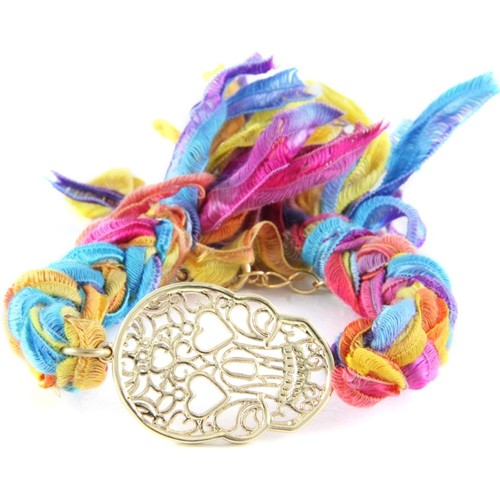 Watches Women Bracelets Blue Pearls Ettika - Multicolor Ribbons and Yellow Gold Skull Bracelet Multicolored