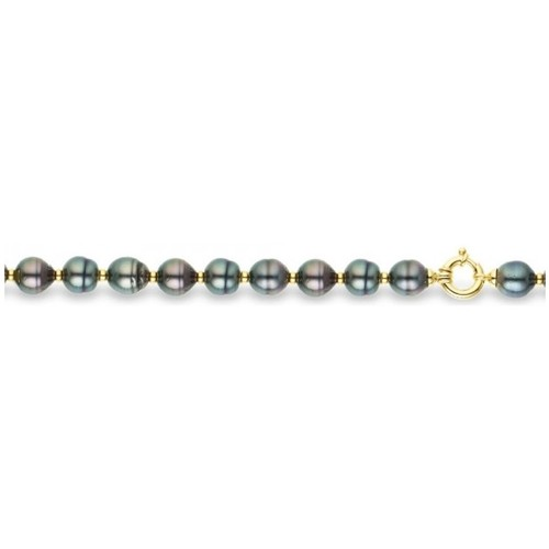 Watches Women Bracelets Blue Pearls Black Circled Tahitian Pearls Bracelet and Yellow Gold 375/1000 Multicolored
