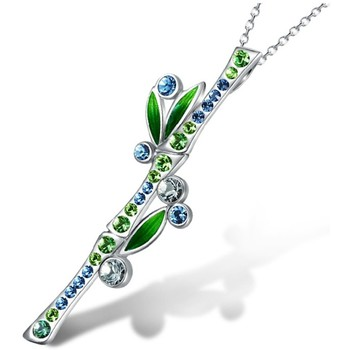 Watches Women Pendants Blue Pearls Blue and Green Crystal Swarosvki Elements Bamboo Pendant Multicolored