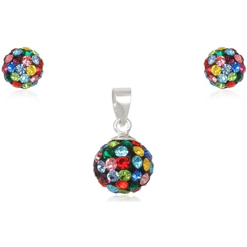 Watches Women Jewelerry sets Blue Pearls Multicolor Crystal Pendant and Earrings Set and 925 Silver Multicolored