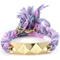 Watches Women Bracelets Blue Pearls Ettika - Purple Ribbons and Yellow Gold Pyramid Bracelet Multicolored