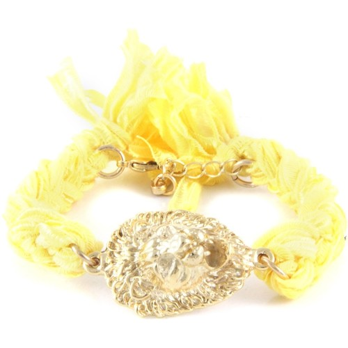 Watches Women Bracelets Blue Pearls Ettika - Yellow Ribbons and Yellow Gold Lion Bracelet Multicolored