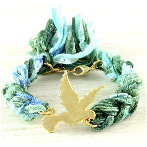 Watches Women Bracelets Blue Pearls Ettika - Green Ribbons and Yellow Gold Dove Bracelet Multicolored