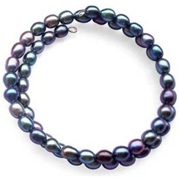 Watches Women Bracelets Blue Pearls White or Black Freshwater Pearl Stretchy Bangle Black
