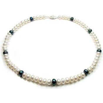 Watches Women Necklaces Blue Pearls White and Black Freshwater Pearl Necklace and Silver Clasp Multicolored
