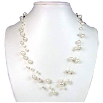 Watches Women Necklaces Blue Pearls White or Black Freshwater Pearl 3 Rows Necklace and Silver Clasp White
