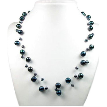 Watches Women Necklaces Blue Pearls White or Black Freshwater Pearl 3 Rows Necklace and Silver Clasp Black