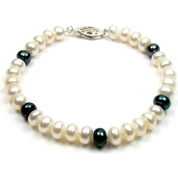 Watches Women Bracelets Blue Pearls White and Black Freshwater Pearl Bracelet and 925 Silver Multicolored