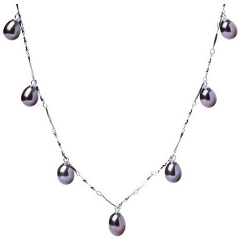 Watches Women Necklaces Blue Pearls 7 dangling Freshwater Pearls Women Choker Necklace and 925/1000 Black