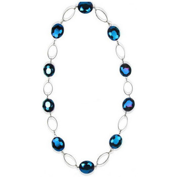 Watches Women Necklaces Blue Pearls Blue Crystal Necklace and Silver Plated Multicolored