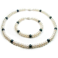 Watches Women Jewelerry sets Blue Pearls White and Black Freshwater Pearl Necklace and Bracelet Set and S Multicolored