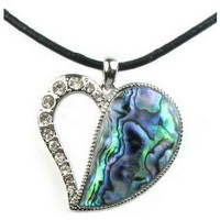 Watches Women Pendants Blue Pearls Abalone and sparkling Cz Stone Heart Pendant Gold