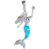 Watches Women Pendants Blue Pearls Opal Mermaid Pendant and Silver Plated Multicolored