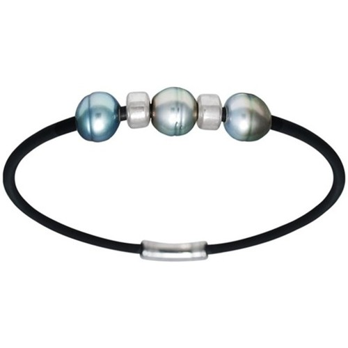 Watches Men Bracelets Blue Pearls Tahitian Pearl Men Bracelet and 925 Sterling Silver Multicolored