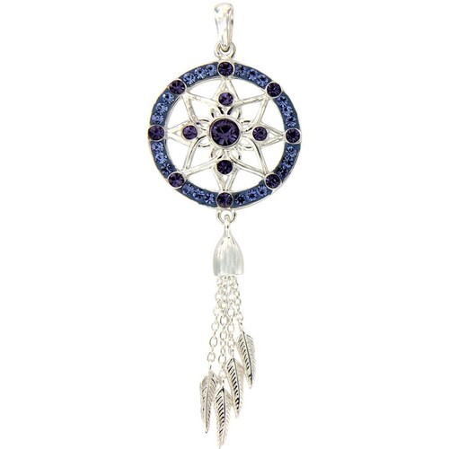 Watches Women Pendants Blue Pearls Dream Catcher Pendant with Blue Swarovski Elements Crystal and 9 Multicolored