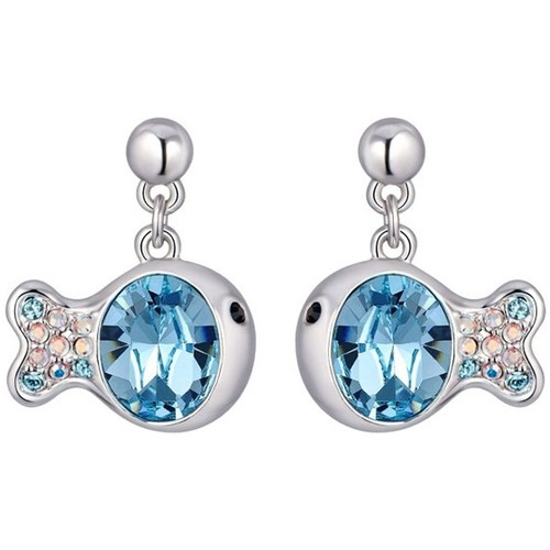 Watches Women Earrings Blue Pearls Blue Swarovski Crystal Elements Fish Earrings and Rhodium Plated Multicolored