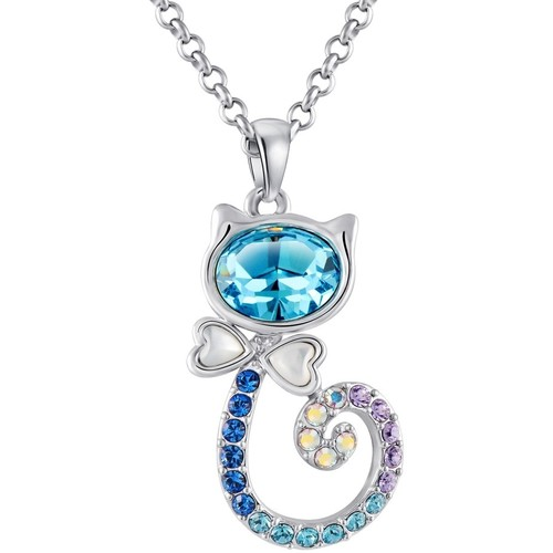 Watches Women Pendants Blue Pearls Blue Swarovski Crystal Elements Cat Pendant Multicolored