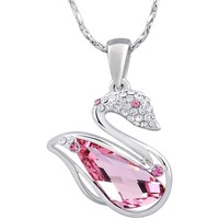 Watches Women Pendants Blue Pearls Pink Swarovski Crystal Elements and Rhodium Plated Swan Pendant Transparent