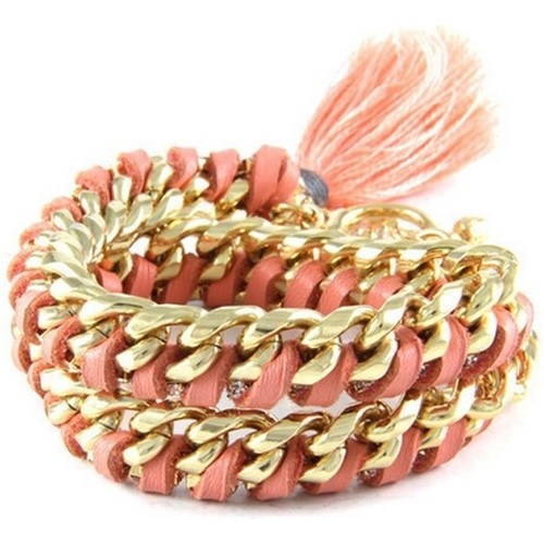Watches Women Bracelets Blue Pearls Ettika - Pink Leather Ribbons, Crystal and Yellow Gold Bracelet Multicolored