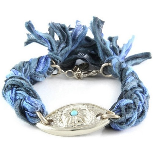 Watches Women Bracelets Blue Pearls Ettika - Black and Blue Ribbons and Silver Eye Bracelet Multicolored