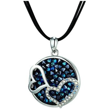 Watches Women Necklaces Blue Pearls Blue Swarovski Crystal Elements Double Hearts Necklace and Rhodi Multicolored