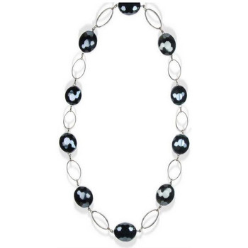 Watches Women Necklaces Blue Pearls Black Crystal Necklace and Silver Plated Multicolored