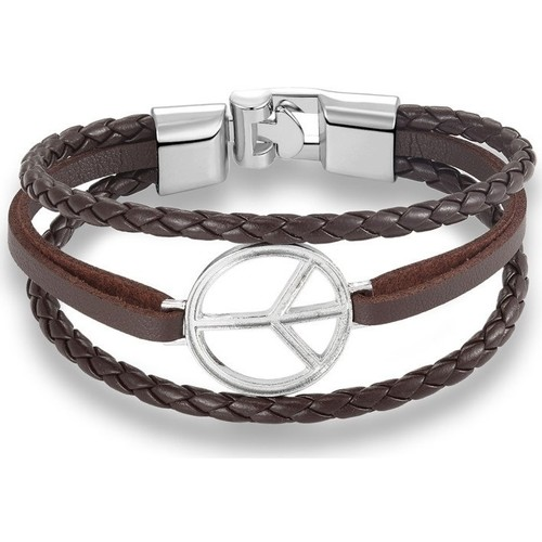 Watches Women Bracelets Blue Pearls Brown Multi Rows Peace and Love Leather and Stainless Steel Man Multicolored