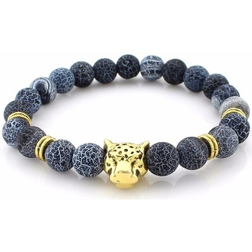 Watches Women Bracelets Blue Pearls Grey Lava Stones Stretch Bracelet and gold Panther Head Multicolored
