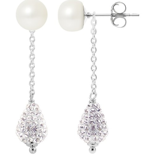 Watches Women Earrings Blue Pearls White Cultured Pearls, White Crystal and 925 Silver Dangling Ear Multicolored