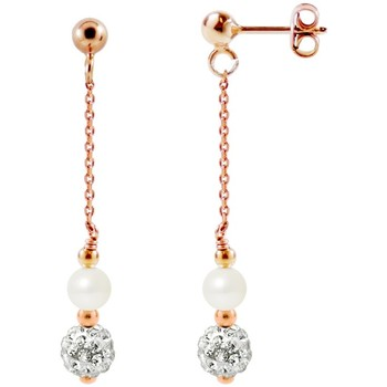 Watches Women Earrings Blue Pearls White Cultured Pearls, White Crystal and Rose Gold plated Dangli Multicolored