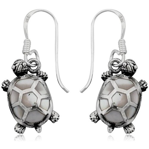 Watches Women Earrings Blue Pearls 925 Silver Tortle Dangling Earrings and Mother of Pearl Multicolored