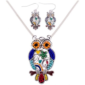 Watches Women Jewelerry sets Blue Pearls Multicolor Pearl Owl Pendant and Earrings Set Multicolored