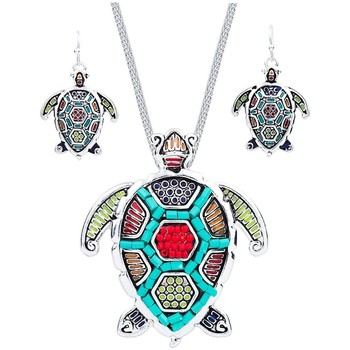 Watches Women Jewelerry sets Blue Pearls Multicolor Pearl Turtle Pendant and Earrings Set Multicolored