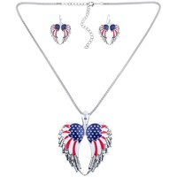 Watches Women Jewelerry sets Blue Pearls American Flag Pendant and Earrings Set Gold