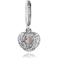Watches Women Jewellery Blue Pearls 925 Silver Heart Pendant Charms bead Multicolored