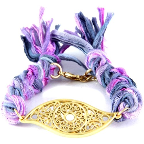Watches Women Bracelets Blue Pearls Ettika - Purple Ribbons and Yellow Gold Eye Bracelet Multicolored