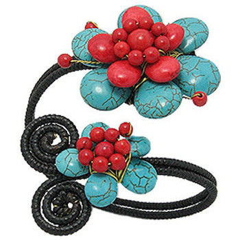 Watches Women Bracelets Blue Pearls Turquoise Gemstones and Red Flowers Bracelet Multicolored