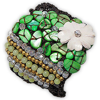 Watches Women Bracelets Blue Pearls Green Pearl and Jade Flower Bracelet Multicolored