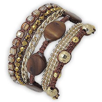 Watches Women Bracelets Blue Pearls Golden Bronze Mother of pearl Bracelet Multicolored