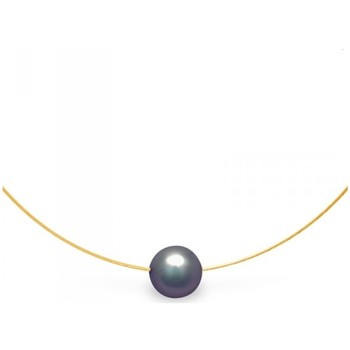 Watches Women Necklaces Blue Pearls Black Freshwater Pearl Cable Necklace and Yellow Gold 750/1000 Multicolored