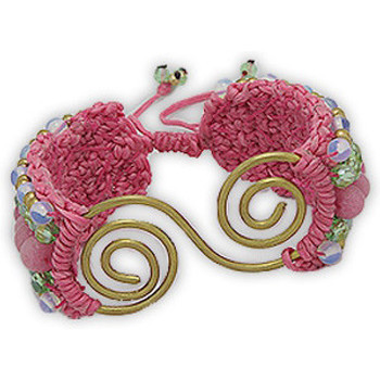 Watches Women Bracelets Blue Pearls Pink bracelet gold and cotton Spiral Beads Jade, Opal and Glass Multicolored
