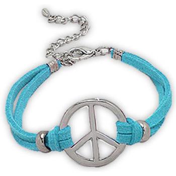 Watches Women Bracelets Blue Pearls Blue Suedin Peace and Love Bracelet Multicolored