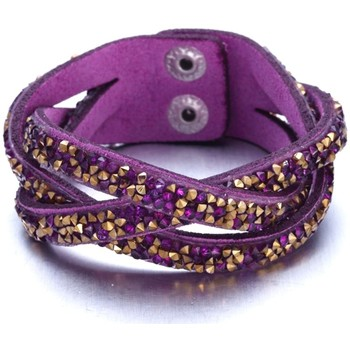 Watches Women Bracelets Blue Pearls Purple and Golden Swarovski Crystal Elements and purple leather Multicolored