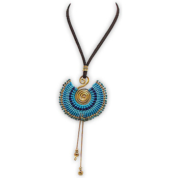 Watches Women Necklaces Blue Pearls and Gold Metal Spiral Necklace Multicolored
